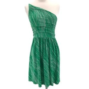 Tart Green and White One Shoulder Dress